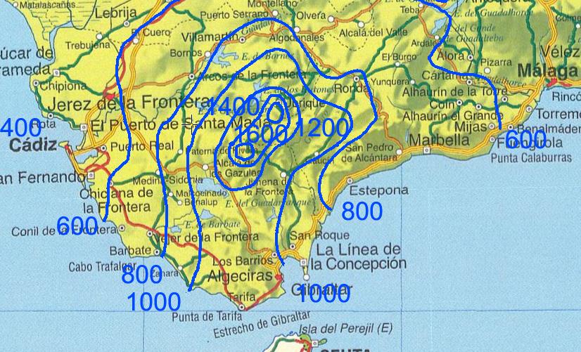 climosecuencias en Cádiz sobre calizas